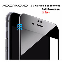 2Pcs Adcanovd 3D Full Cover Soft Edge Tempered Glass For iphone 6s 6 Screen Protector iPhone 7 8 7plus Protection Film