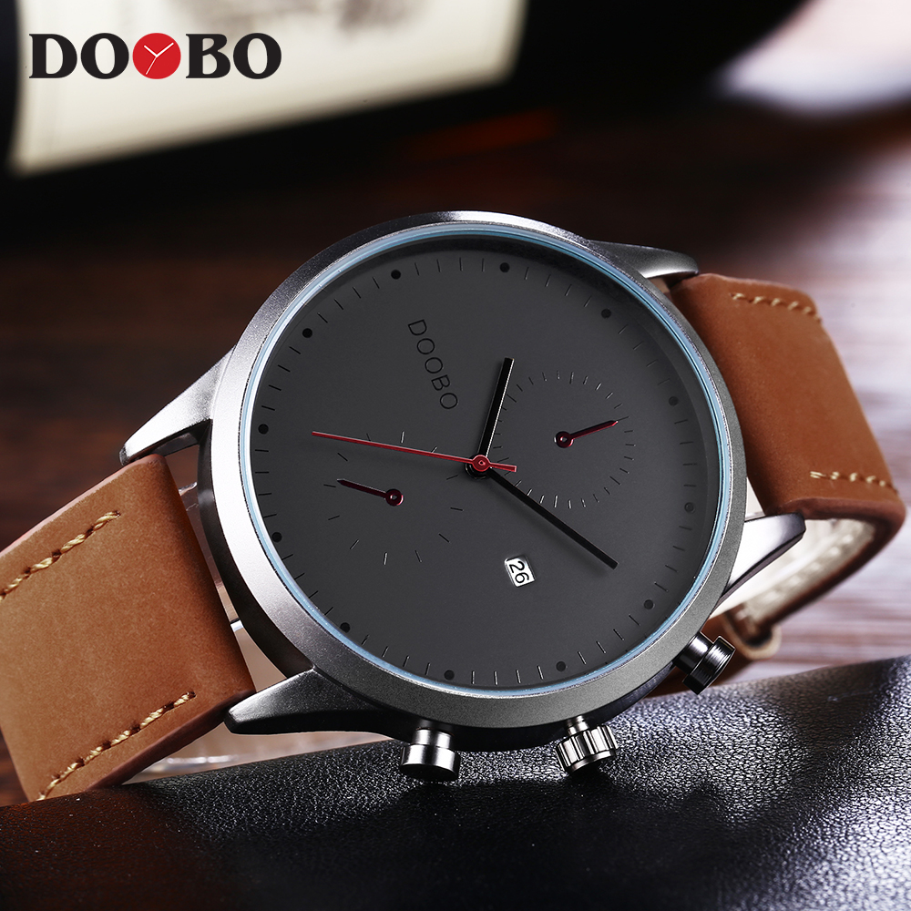 DOOBO Mens Watch Fashion Casual Watches Men Wristwatch Leather Strap Quartz Sport Wrist Watch Men's Clock Male Hodinky Saat bamboo wood watches for men and women fashion casual leather strap wrist watch male relogio