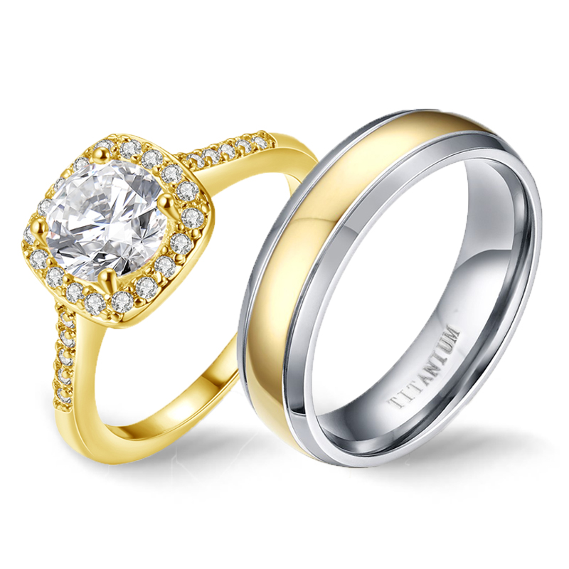 Engagement Rings Couple Simple Pure Titanium Ring Men Crystal Cubic Zirconia Copper Ring for Women Accessories 2019 Love Gift
