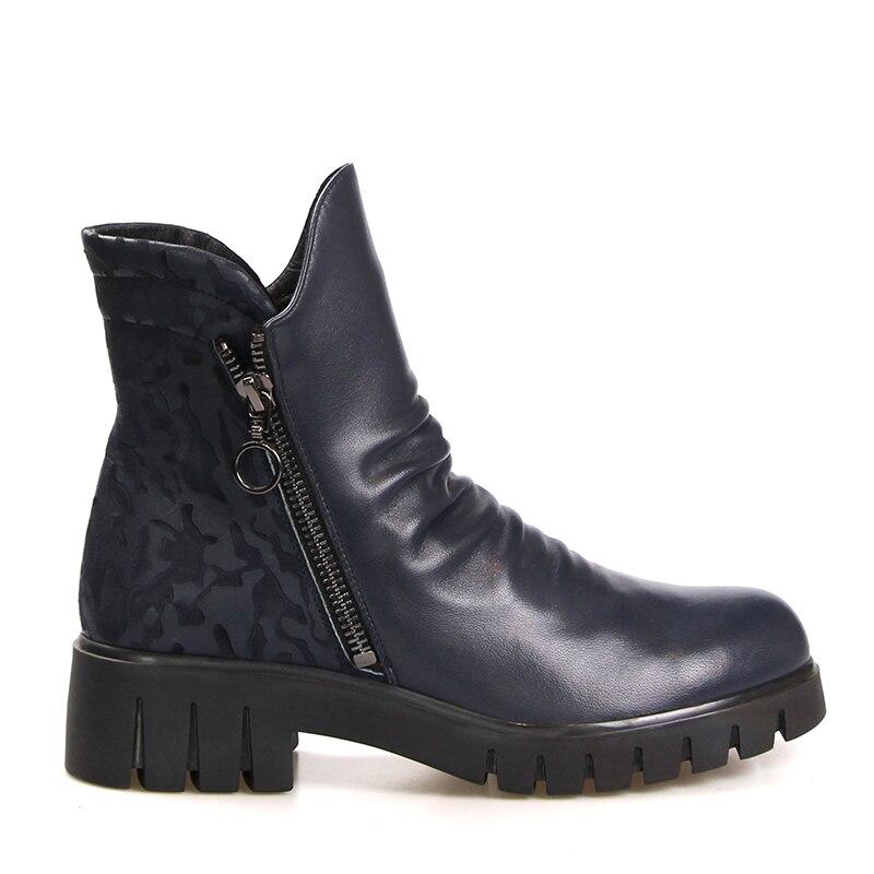 Femmes Plissée Bout Chaud Bootie Plate Bottes Impression Zipper Épais Talons Casual Rond forme Chaussures Cheville Noir Wetkiss wAXIqES