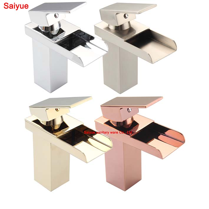 US $72 3 |New Various waterfall gold/rose gold chrome nickel brushed  plating Single Handle/Hole Bathroom Sink Faucet Waterfall Mixer Tap-in  Basin