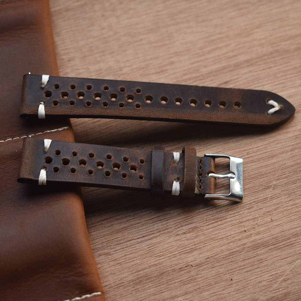 Vintage Hand-Stitched Leather Watch Strap Tanned Oil Waxed & Suede Calfskin Perforated Watch Bands 18mm 20mm 22mm