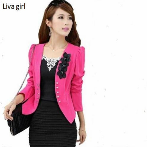 Fashion Autumn Spring rose red Elegant Women blazers Casual Plus size Coat outerwear Small suit Jacket female Slim Blazer 2017