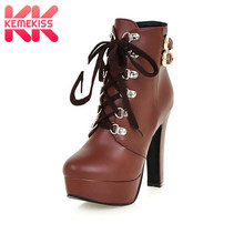 585571511389 KemeKiss Winter Women Round Toe Ankle Boots High Heels Lace Up Shoes Double  Buckle Platform Short Martin Booties Size 33-43
