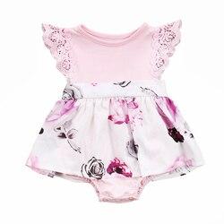 L/детский кружевной комбинезон с рукавами для новорожденных и больших маленьких сестер; сарафан; Розовая одежда