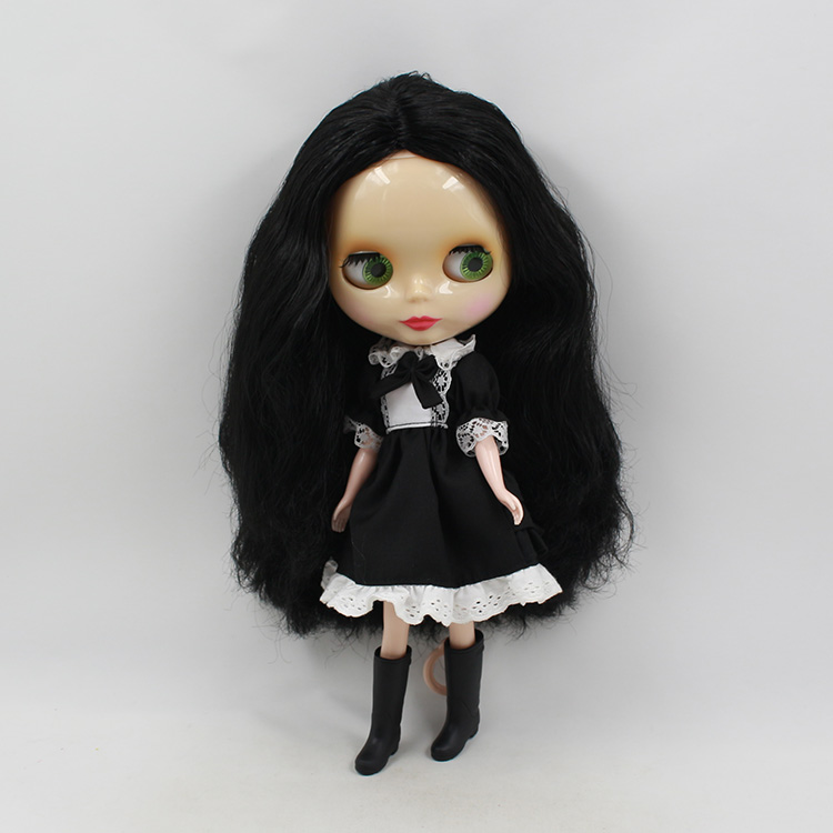ФОТО Mini blyth doll nude Big eyes B female black long hair suit for DIY sweet bjd dolls for girls