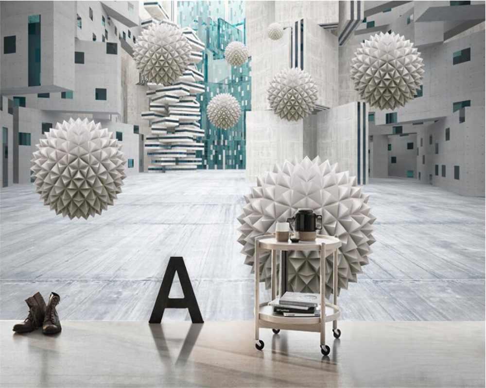 beibehang Custom Wallpaper Home Decorative Mural Three - dimensional Future Space 3D Bal ...