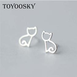 Teeny-Tiny-Kitty-Cat-925-sterling-silver-Minimalist-Genuine-925-Sterling-Silver-Hollow-Open-Cat-Earrings