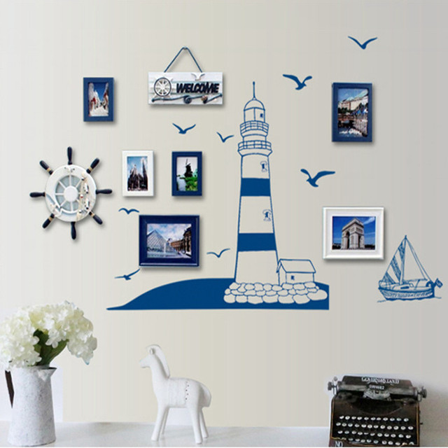 Aliexpresscom Buy Lighthouse Sailboat Seagull Nautical For Boy - Wall decals on furniture