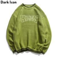DARK ICON Letter Embroidery Oversize Sweaters Men 2018Winter Round Neck Pullover Mens Sweater Loose Sweater for Men Green Purple