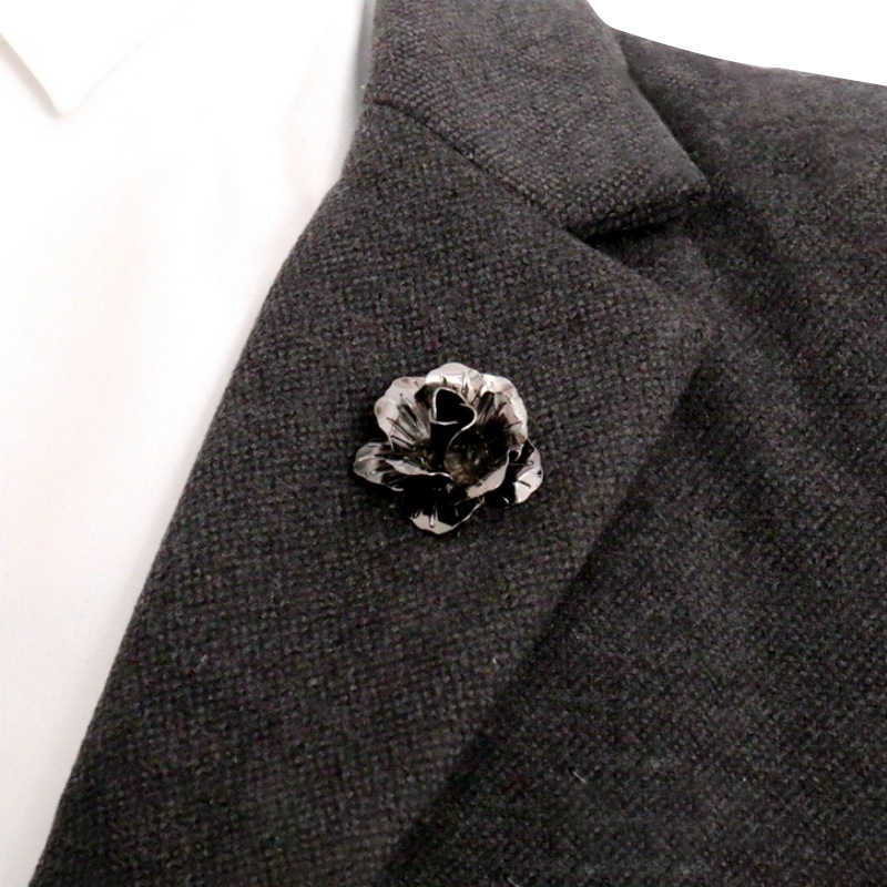 48b181ab354 ... Mens Fashion Rose Flower Lapel Pin for Men Wedding Party Suit Lapel  Brooch Pin Boutonniere Shirt ...
