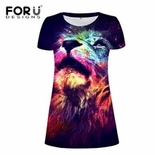 FORUDESIGNS Casual Women Dress Sexy Bodycon Bandage Vestidos Galaxy Space Ladies Short Cool Lion Summer Beach dress