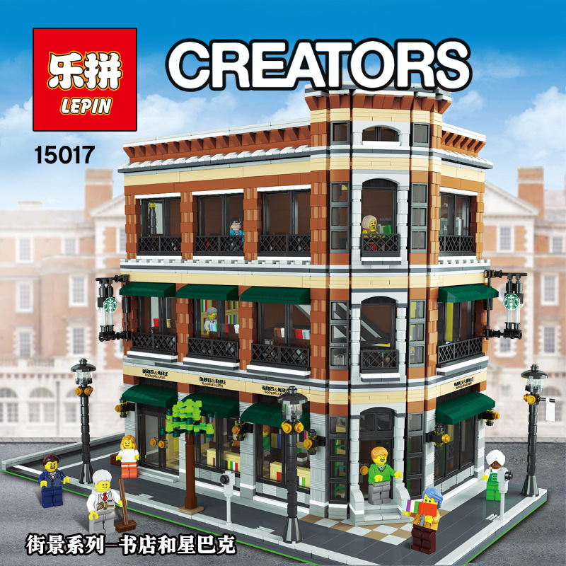 2017 LEPIN 15017 4616Pcs City Street Creator Starbucks Bookstore Cafe Model Building Kit Brick Compatible With a toy a dream lepin 15008 2462pcs city street creator green grocer model building kits blocks bricks compatible 10185