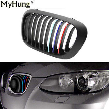 22CM*0.5CM 3pcs Per Set PVC front Grill Stripes decals M power sport stickers for BMW M3 M5 M6 E46 E39 E60 E90 car styling image