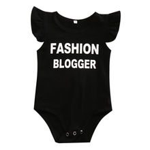 Newborn Toddler Infant Baby Boys Girls Fashion Blogger Letter Printed Jumpsuit Bodysuit Sleeveless Clothes Outfits