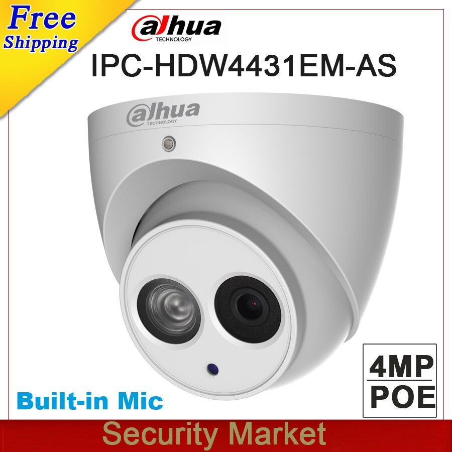 Original Dahua IPC-HDW4431EM-AS replace IPC-HDW4421EM-AS 4MP POE IR 50m Eyeball Network Dome Camera Built-in Mic IP Camera original dahua 4mp ipc hdbw4421r as ip network camera support poe