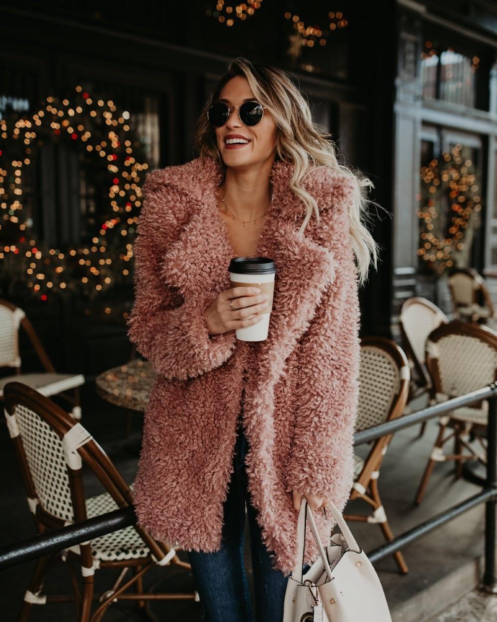 Winter Jacket Women 2019 Warm Faux Fur Teddy Coat Vintage Turn-down Collar Fur Furry Bomber Jacket Outerwear Plus Size Overcoat