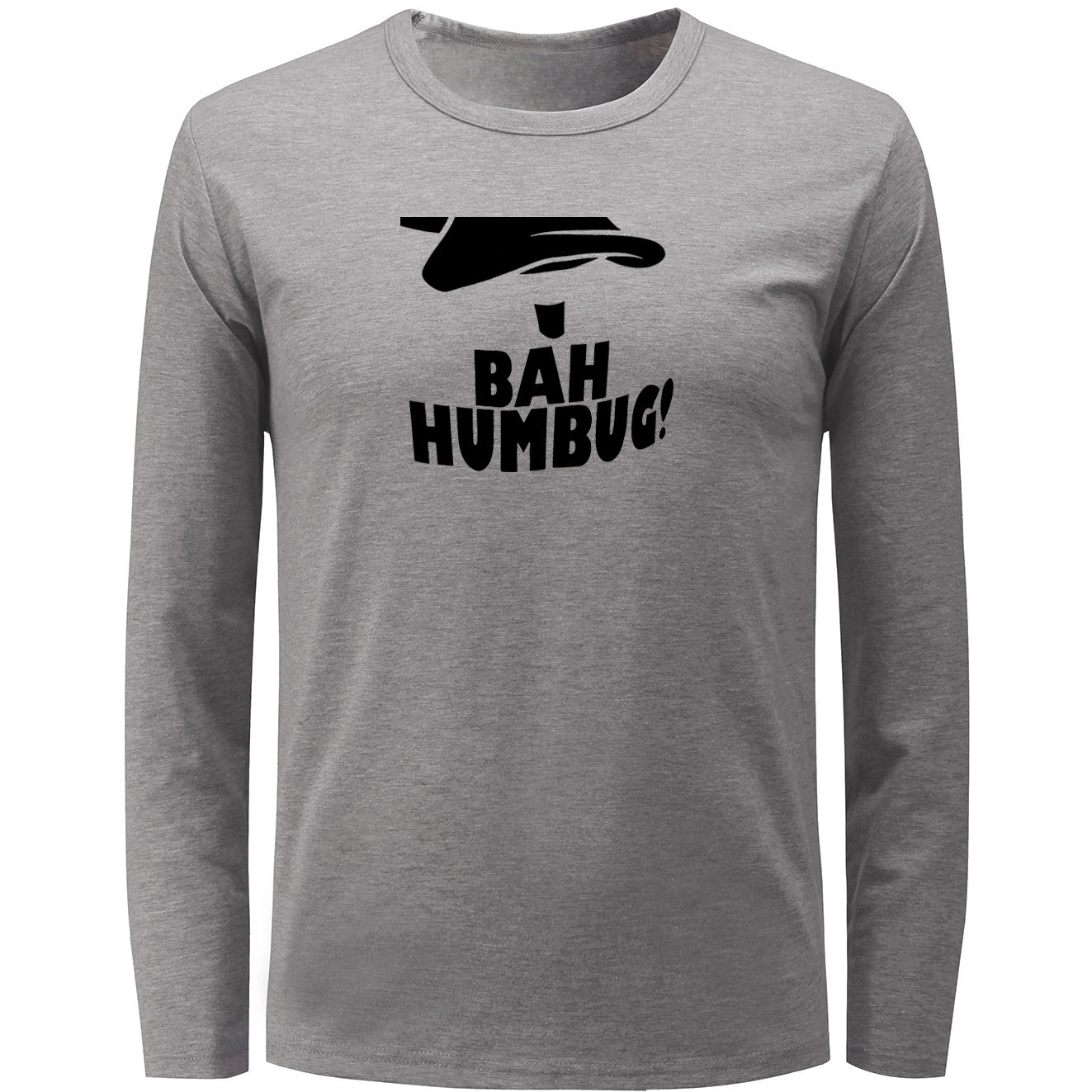 IDzn BAH HUMBUG Letter Graphic Long Sleeve T Shirt Men Boy Spring Autumn Cotton Fitness Unisex T-shirt Crew Neck Tee Clothing