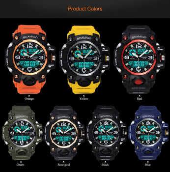 Men Sports Watches BOAMIGO Brand Digital LED Quartz Rubber Military Wristwatches Waterproof Analog Male Clock Relogio Masculino