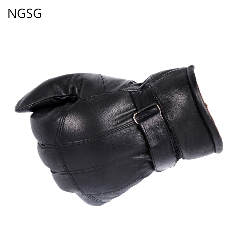 NGSG Thicken Middle Age Men s Winter Gloves Solid Black Warm 30-50 years 12 CM High Grade Ensure Quality Mittens Cold