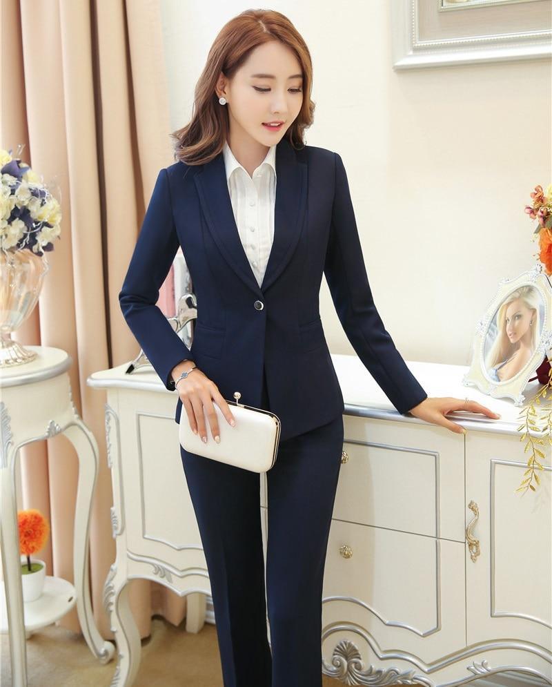 Formal Pant Suits For Women Business Suits Blue Blazer And Jacket Sets Ladies Work Wear Clothes Office Uniform Styles Suits & Sets