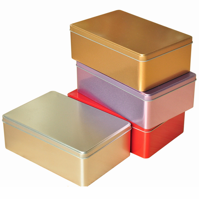 Ordinaire 20*13*7cm 4pcs Colorful Large Tin Box With Hinge Hinged Rectangle Storage  Bin