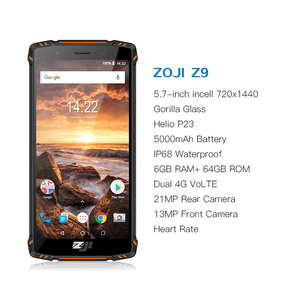 "Image 2 - الأصلي النسخة العالمية HOMTOM ZJI ZOJI Z9 6 GB 64 GB IP68 5500 mAh للماء الروبوت 8.1 5.7 ""الوجه بصمة ID 4G الهاتف الذكي"