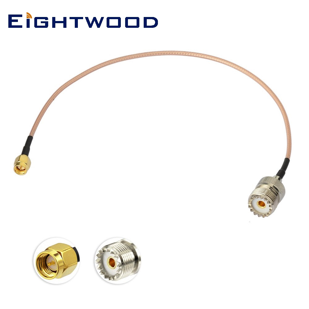 "Eightwood Adapter SMA Plug to UHF SO 239 Jack Connector 12""(30cm) Low Loss Jumper Cable Extension for Handheld Radio Antenna