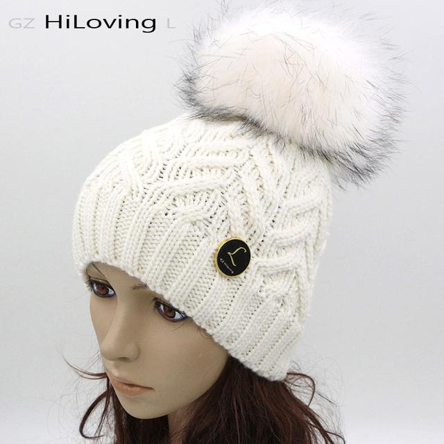 GZHilovingL 2016 Otoño Invierno Para Mujer Gorros Sombreros Y Gorras Con Fur bola de Lana Gruesa Sombrero Caliente Suave Para Mujer Para Hombre de Invierno Gorros Cap