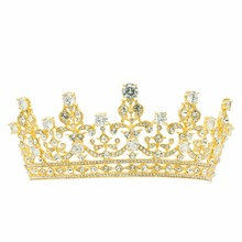 Fashion Gold Tone Clear Rhinestone Crystal Crown Flower Tiara Prom Wedding Bridal Accessories 17363GCL