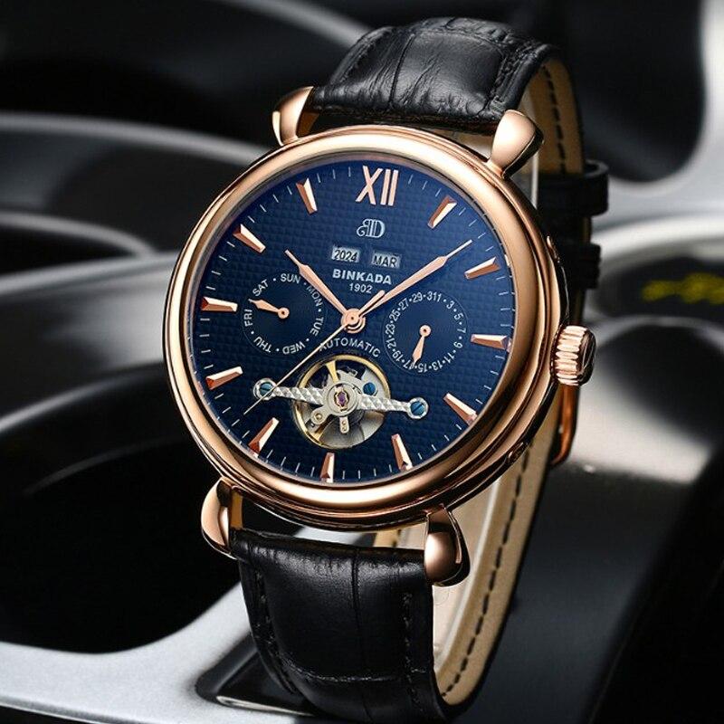 Casual Men Wristwatch BINKADA Automatic Skeleton Toubillion Mechanical Watch Function Luxury Men Classic Business Watch цена