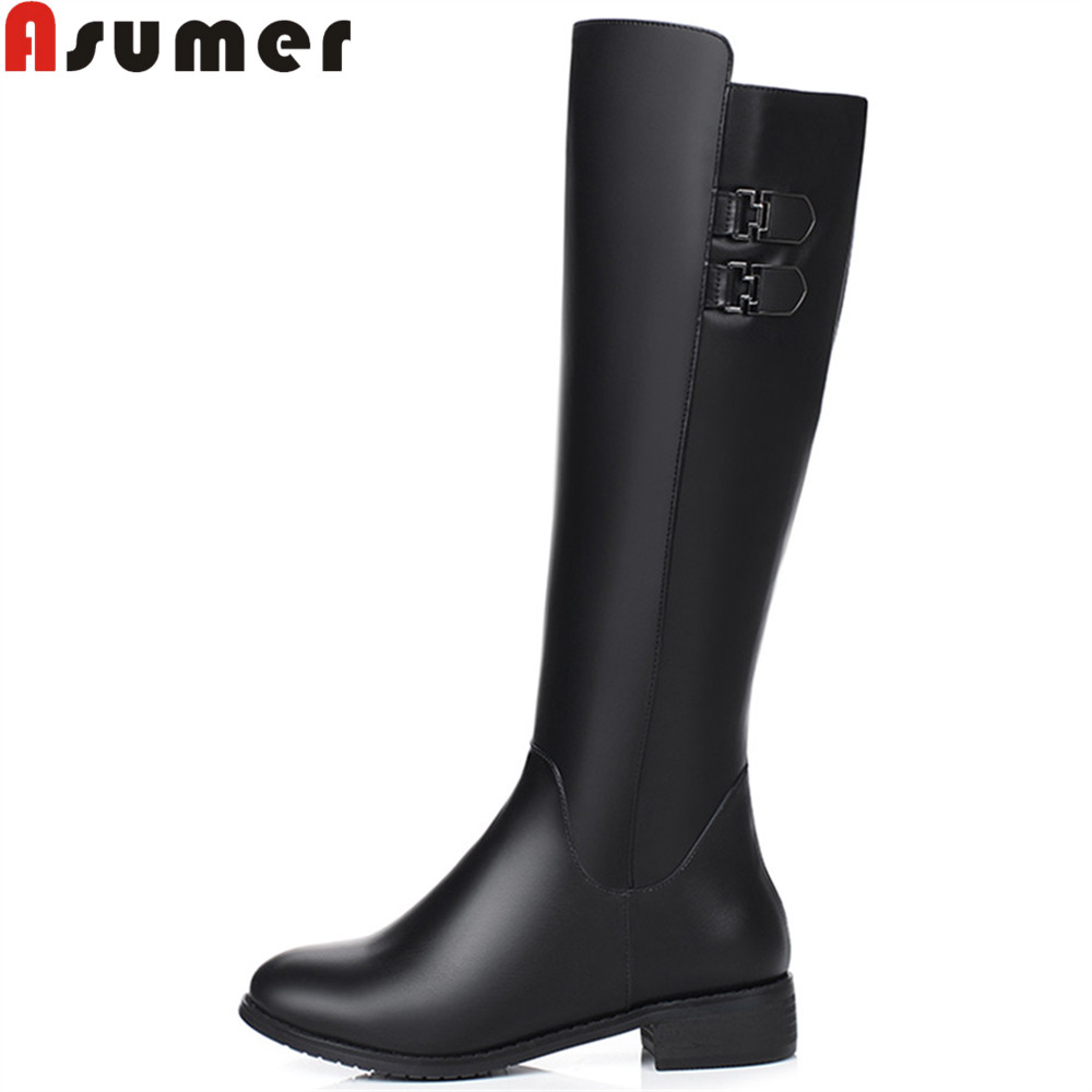 Asumer fashion hot sale new women boots black round toe zipper high quality pu buckle square heel knee highboots low heel цены онлайн