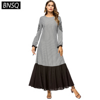 BNSQ New Arrival Women long Dress Swallowtail Vintage Ethnic Plaid Patchwork Maxi Dresses embroidered Long Sleeve Spring 2019