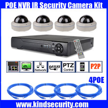 Freeship 4CH 960P HD Realtime POE dome ip network Video Recorder camera kit with waterproof POE dome IP camera 960P