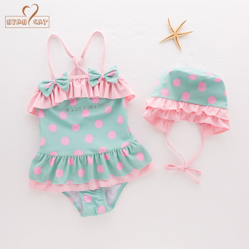 Nyan Cat Child Women Swimwear Swimsuit pink inexperienced dot bow High+Underwear+Hat Set Children Kids Toddler Bathing SPA Seaside Clothes set youngsters, youngsters kids, youngsters set clothes,Low-cost set youngsters,Excessive High...