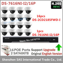 Hikvision NVR DS-7616NI-I2/16P 16CH 16 POE ports + 16pcs Hikvision DS-2CD2185FWD-I 8MP H.265 Video Surveilance Network IP Camera