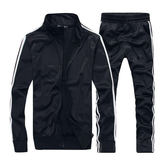 Spring Autumn Men Set Casual Men's Sportswear Tracksuit Striped Zipper Jacket+Sweatpants Two Piece Sets Male Solid Sporting Suit