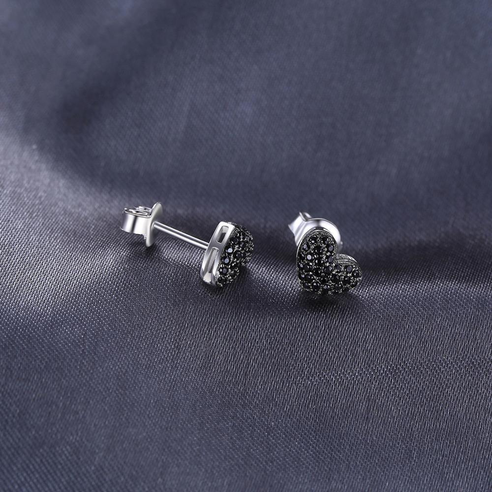 JPalace Love Heart Genuine Black Spinel Stud Earrings 925 Sterling Silver Earrings For Women Korean Earings JPalace Love Heart Genuine Black Spinel Stud Earrings 925 Sterling Silver Earrings For Women Korean Earings Fashion Jewelry 2019