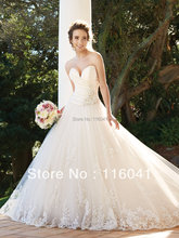 2016 All About Wedding New Style Princess Strapless Sweetheart Corset Tulle Lace Layers Wedding Dresses ST 001