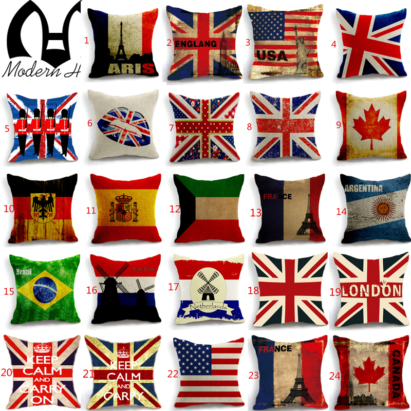 High Quality Decorative Union Jack Us Britain Brazil Canada Cushion Cover Home Decor Sofa Car Seat