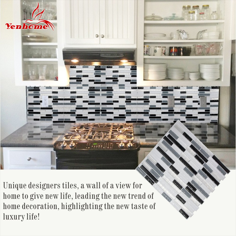 US $6.99 30% OFF|3D Wall Sticker for Kitchen Backsplash Tile Decal Bathroom  Waterproof Self adhesive Wallpaper Peel and Stick Wall Tile Sticker-in ...