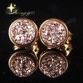 Розовое Золото Цвет Круглый Красочный Натуральный Druzy Кварта (Drusy) Серьги Стержня для Женщин Позолоченные Christma Подарок XYE100654R