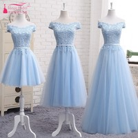 A Line Lace Bridesmaids Gowns Off The Shoulder V Neck Short Sleeves Sky Blue Bridesmaid Dresses