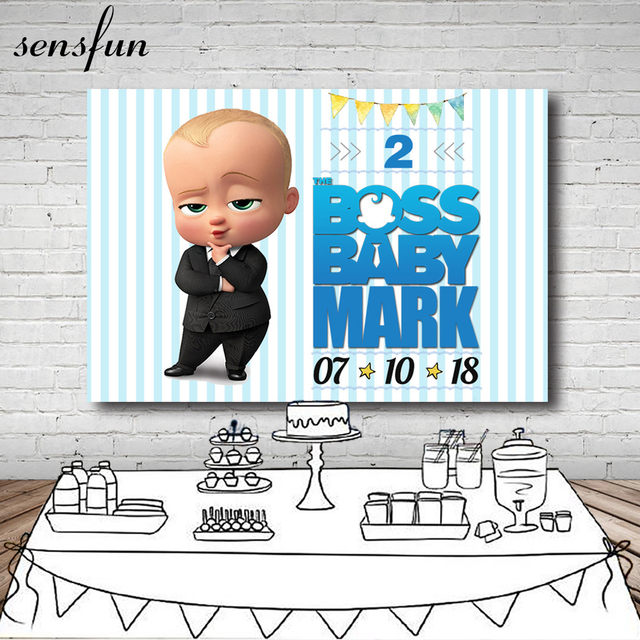 Little Men Boss Baby Birthday Party Backdrop For Photo Studio White And Light Blue Striped Photography Backgrounds 7x5FT Vinyl