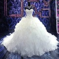 Most Elegant Wedding Dresses 2015 Chapel Train White Wedding Dress VERNASSA Embroidery Crystal Beaded Sweetheart Bridal Dresses