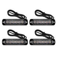 4Pcs 12 24V 18W 6 LED Slim Flash Light Bar Car Vehicle Truck Moto Emergency Warning Strobe Lamps Auto Accessories