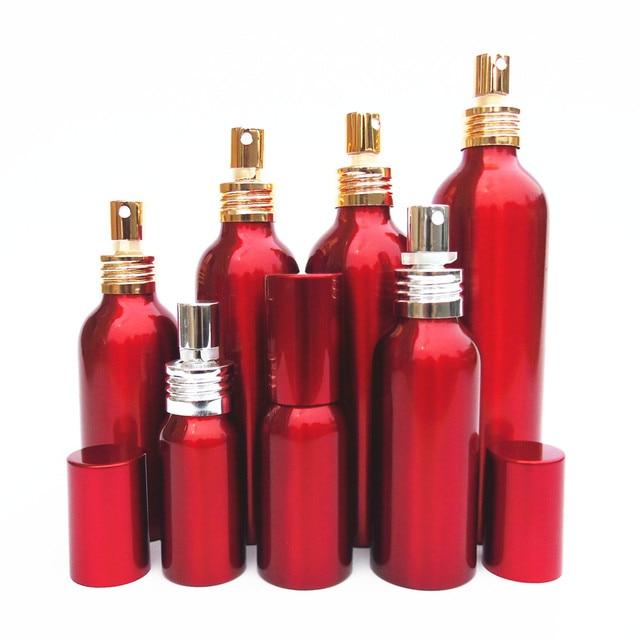 20-50pcs 30-300ml red Aluminum empty spray bottle Aluminum cap Fine Mist Refill cosmetic sprayer jar Sample subpackage bottle