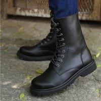 Winter Boots Men Men Martin Boots Pu Leather Men Mid Calf Boots Male Low Heels Botas Hombre Military Askeri Bot Large Size 38 48
