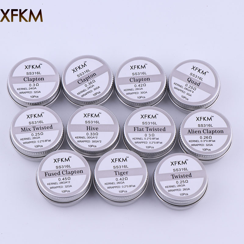 XFKM SS316L Electronic Cigarette DIY Prebuilt Coil Heating Wire Alien Tiger Clapton Coil For Vapor RDA