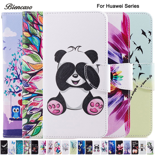 Biencaso Butterfly Owl PU Leather Wallet Flip Case for Huawei Mate 10 Lite P10 P8 P9 Lite mini Y5 2017 Y6 Pro 2017 Cover B116